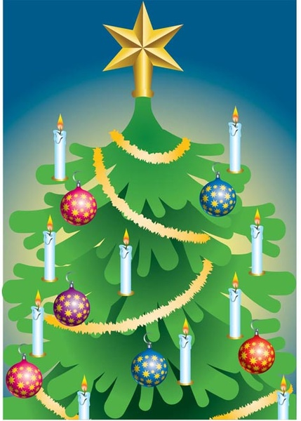 beautiful christmas tree with candle and snow flake balls vector