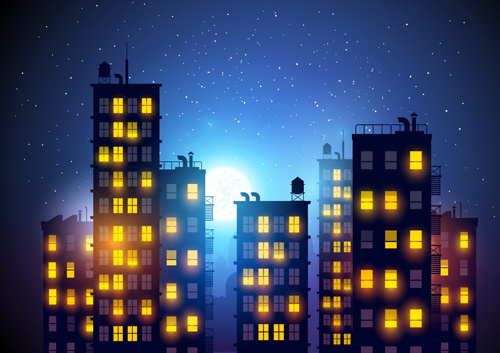 Brightly Lit Midnight City Vector Background Free Vector