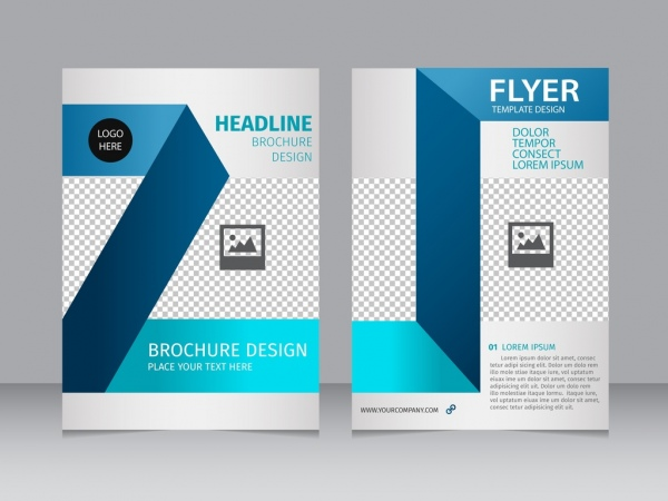 Brochure Flyer 3d Blue Checkered Background Free Vector In