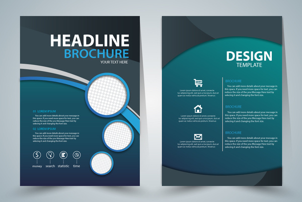 Brochure template design with green elegant style Free vector in     brochure template design with green elegant style