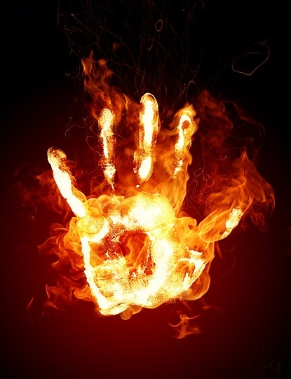 Image result for burning charcoal on palm