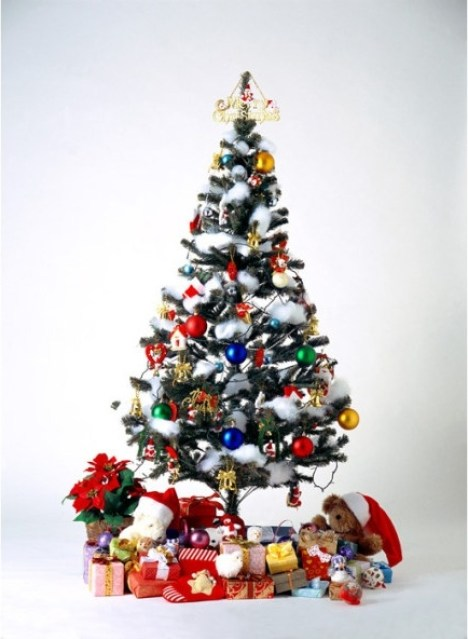 christmas tree covered with gift