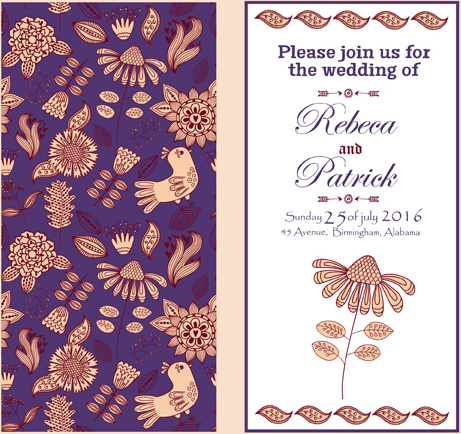 Fl Ethnic Pattern Wedding Invitations Vector Set Free