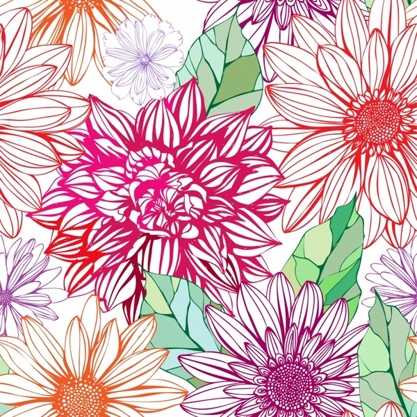 Colorful pink flowers background pattern free vector