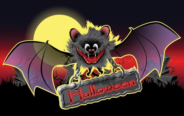 free vector scary halloween bat