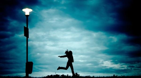 girl at night running