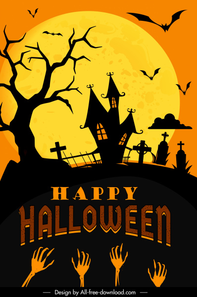Scary priest holding a cross while staying in the dark place. Halloween Banner Template Dark Moonlight Scary Elements Decor Free Vector In Adobe Illustrator Ai Ai Format Encapsulated Postscript Eps Eps Format Format For Free Download 3 96mb