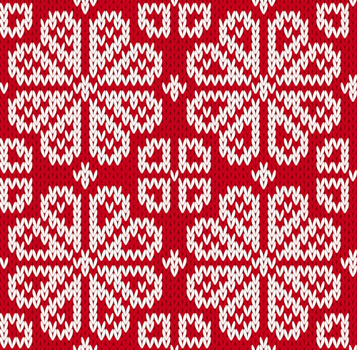 Knitted Fabric Christmas Pattern Vector Set Free Vector In