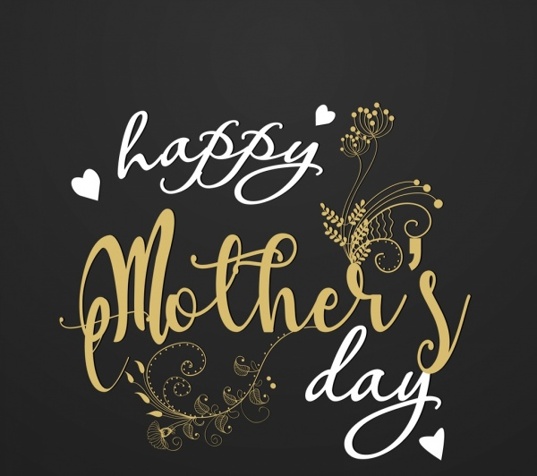 mother day banner calligraphic text decoration dark backdrop