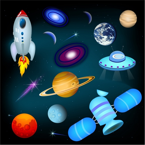 Planets, Space Ships, and Stars Icon Set Free vector in ...