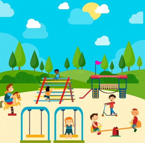 Playground Drawing Children Icons Colored Cartoon Free
