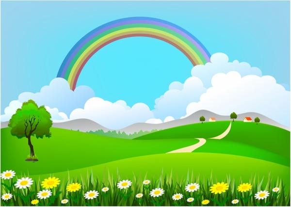 Rainbow Landscape Free Vector In Adobe Illustrator Ai