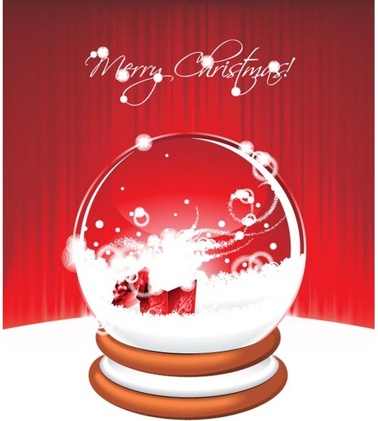 realistic christmas snow globe with christmas gift in it vector