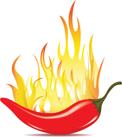 Red Hot Pepper With Fire Vector Free Vector In