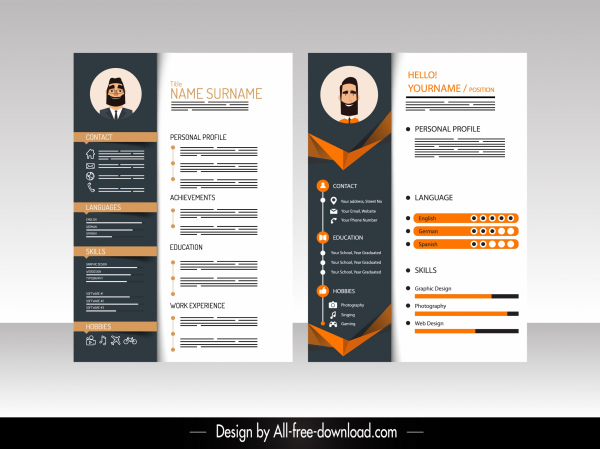 Download unlimited free resume templates from our website www.resumeinventor.com get 25% off your. Resume Template Elegant Modern Contrasted Decor Free Vector In Adobe Illustrator Ai Ai Format Encapsulated Postscript Eps Eps Format Format For Free Download 2 77mb
