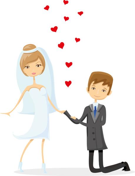 Romantic Bride And Groom Design Vector Free Vector In