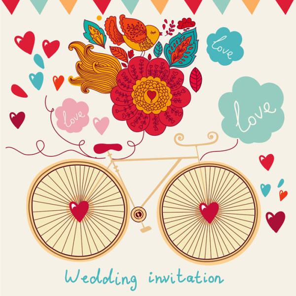Doodle Wedding Invitation Free Vector Preview