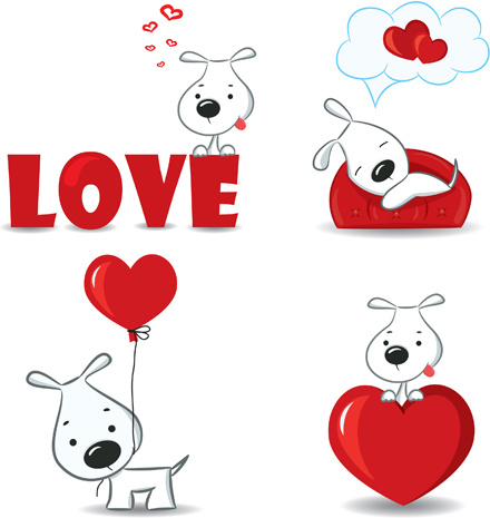 Set Of Funny Valentine Card Vector Graphics Free Vector In