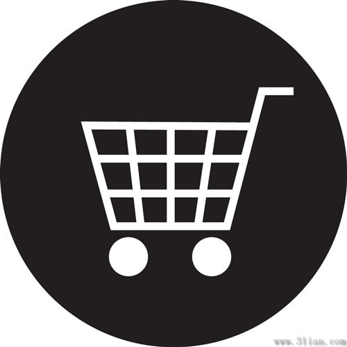Vector Black Background Shopping Cart Icon Free Vector In