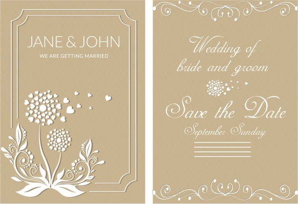 Wedding Card Template Brown Design Clical Decoration