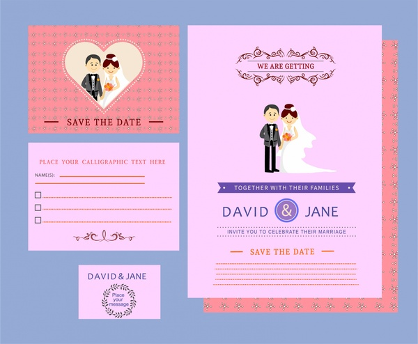 Wedding Card Templates Design On Colored Background