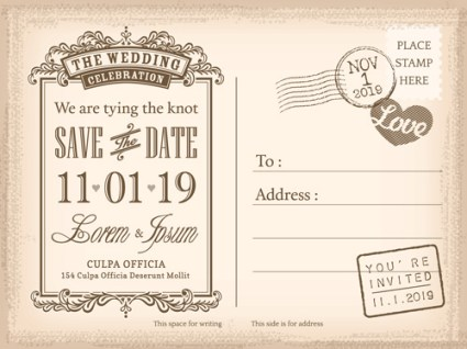 Vintage Wedding Invitation Postcard With Custom Photo