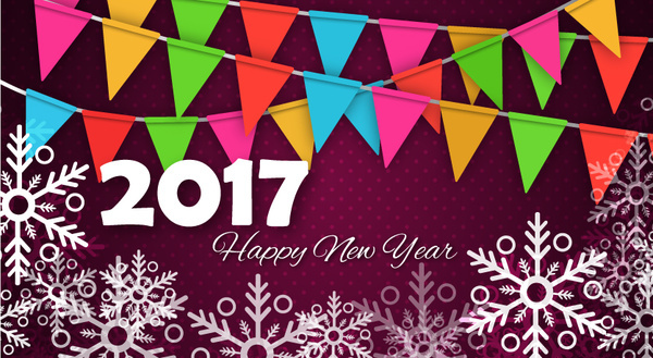 New year template coreldraw free vector download  20 469 Free vector     2017 new year template with snowflakes and flags