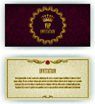 Luxurious Vip Invitation Cards Vector