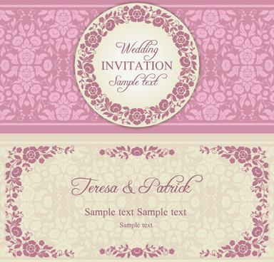 Ornamental Wedding Invitation Free Vector