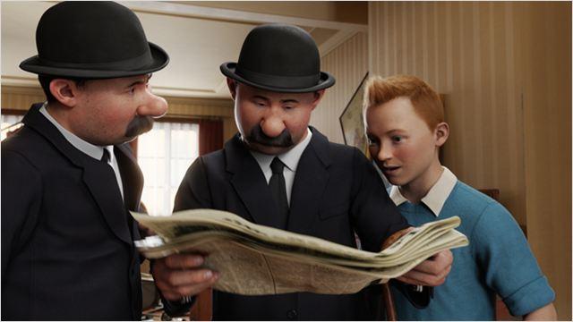 Tintin cherche à résoudre une énigme avec l'aide de Dupond et Dupont