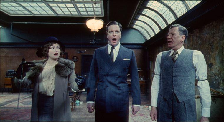 Le Roi (Colin Firth) et sa femme (Helena Bonham Carter) en pleine séance chez le Dr Logue (Geoffrey Rush)