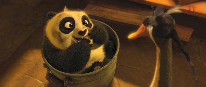 Po bébé et son père adoptif, l'oie Mr Ping
