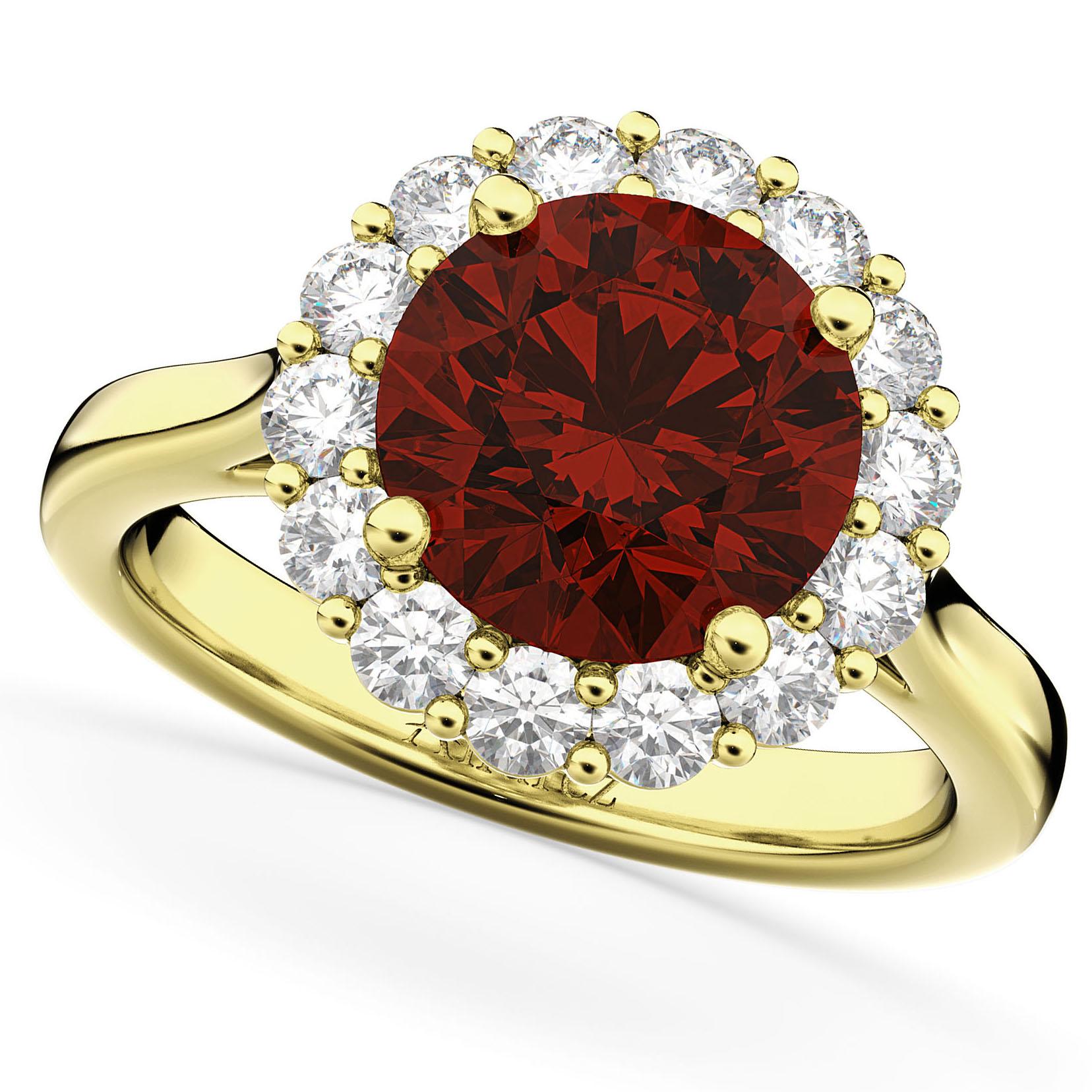Halo Round Garnet Amp Diamond Engagement Ring 14K Yellow
