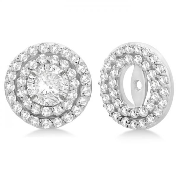 Round Halo Diamond Earring Jackets 9mm Studs 14k White