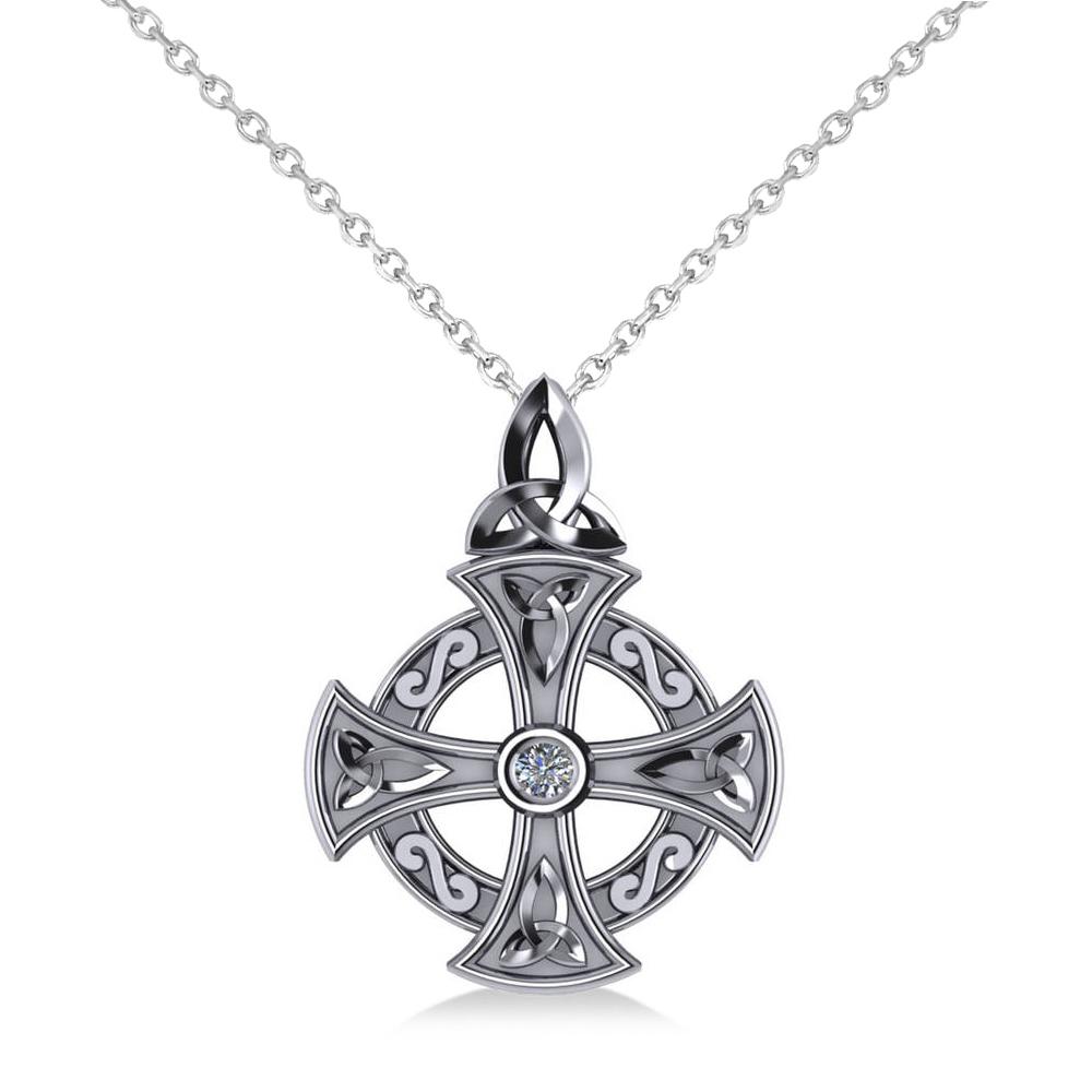 Diamond Celtic Cross Pendant Necklace 14K White Gold 0