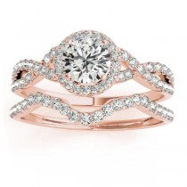 Twisted Infinity Engagement Ring Bridal Set 14k Rose Gold 0.27ct