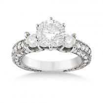 Vintage Three-Stone Diamond Engagement Ring 14k White Gold (1.00ct)