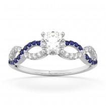 Infinity Diamond & Blue Sapphire Engagement Ring 14K White Gold 0.21ct