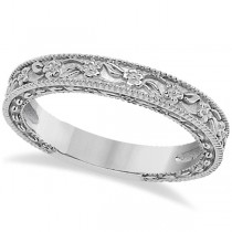 Carved Floral Designed Wedding Band Anniversary Ring in 14K White Gold