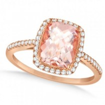 Cushion Cut Morganite and Diamond Halo Ring 14K Rose Gold 2.00ct