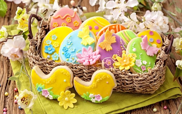 Decorated Easter Cookies HD Wallpaper | Background Image ...