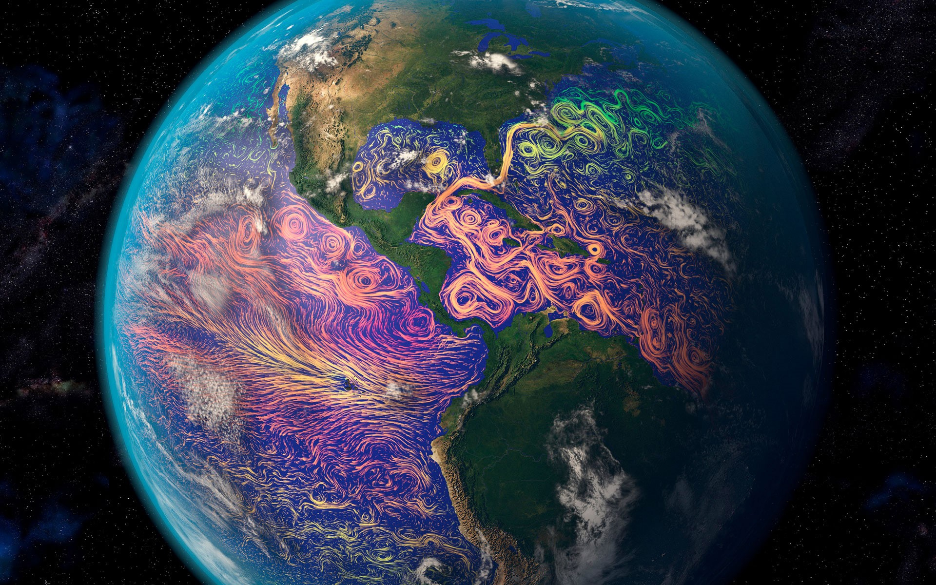 Satellite Based Graphic Showing Ocean Currents Off The