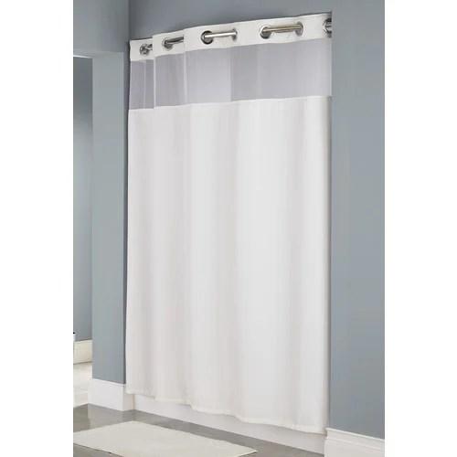 hookless waffle weave windowed shower curtain white 71 x 80