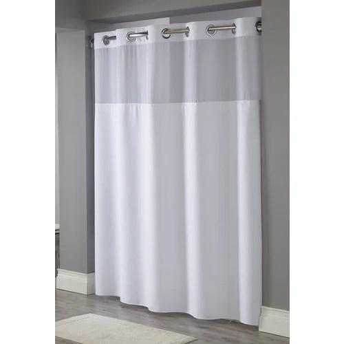 hookless waffle weave windowed shower curtain white 71 x 77