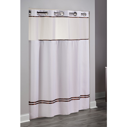 hookless escape striped shower curtain 71x74 white brown
