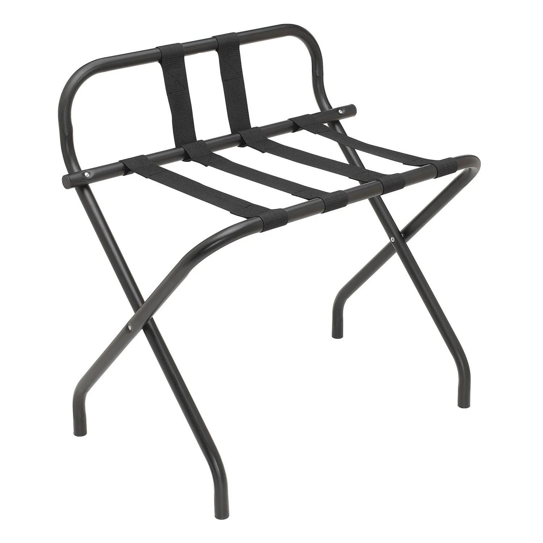 registry metal luggage rack with backrest 26 x 27 x 15 75 black