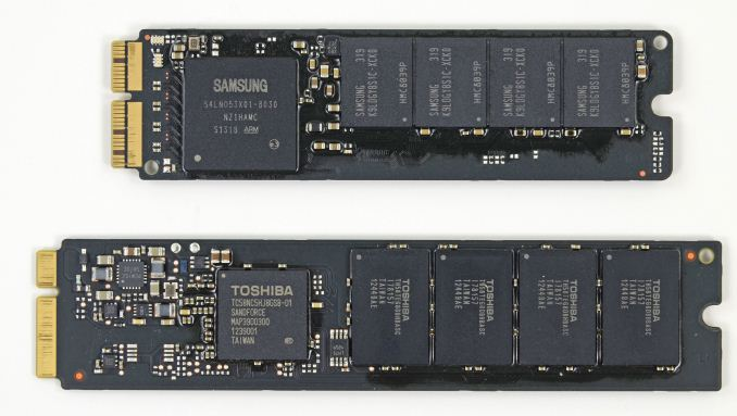 New PCIe SSD (top) vs. 2012 MBA SATA SSD (bottom) - Courtesy iFixit