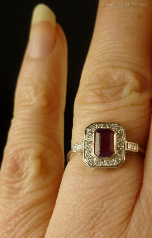 Antiques Atlas Fabulous Emerald Cut Ruby Amp Diamond Ring