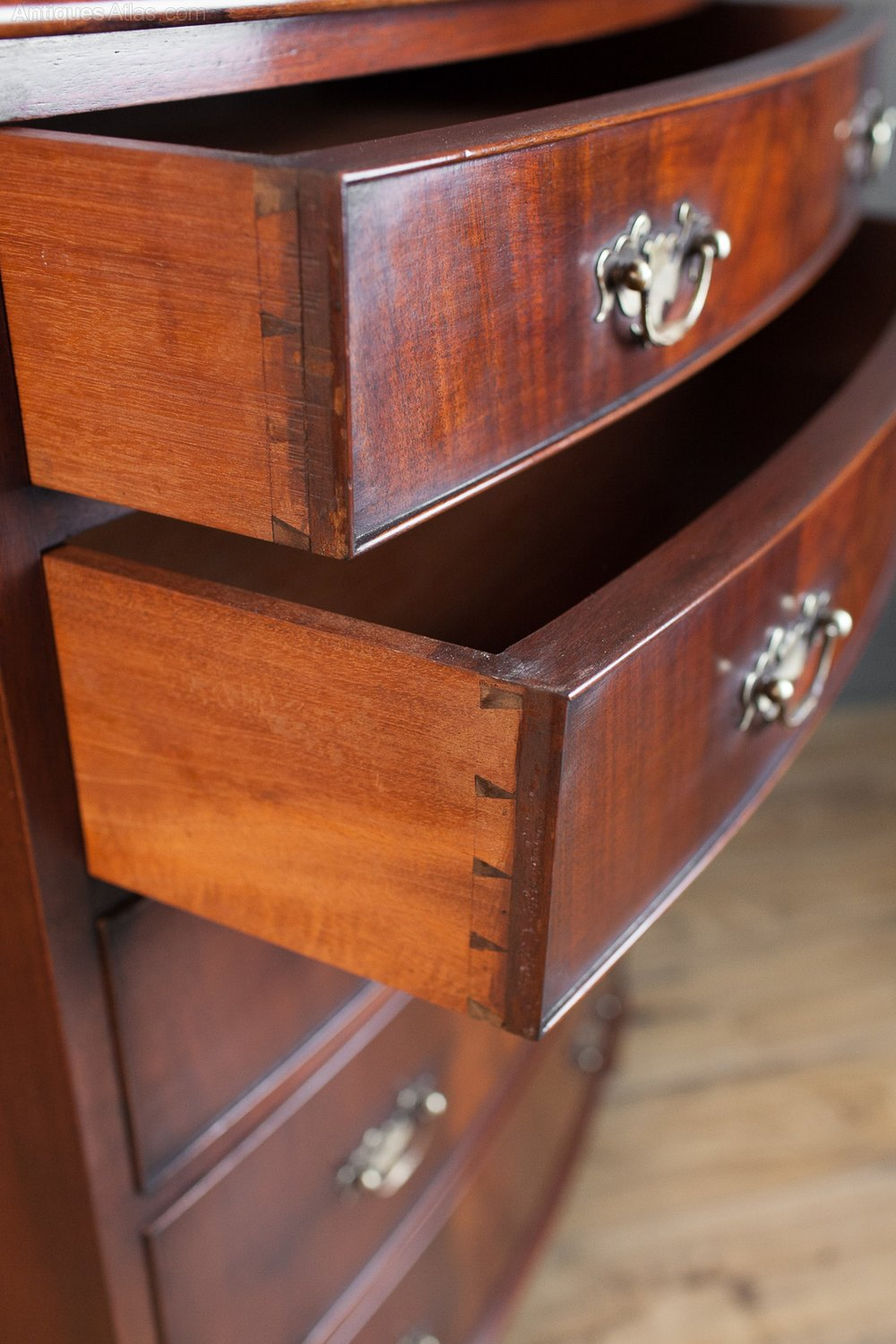Mahogany Bow Front Chest Of Five Drawers Antiques Atlas