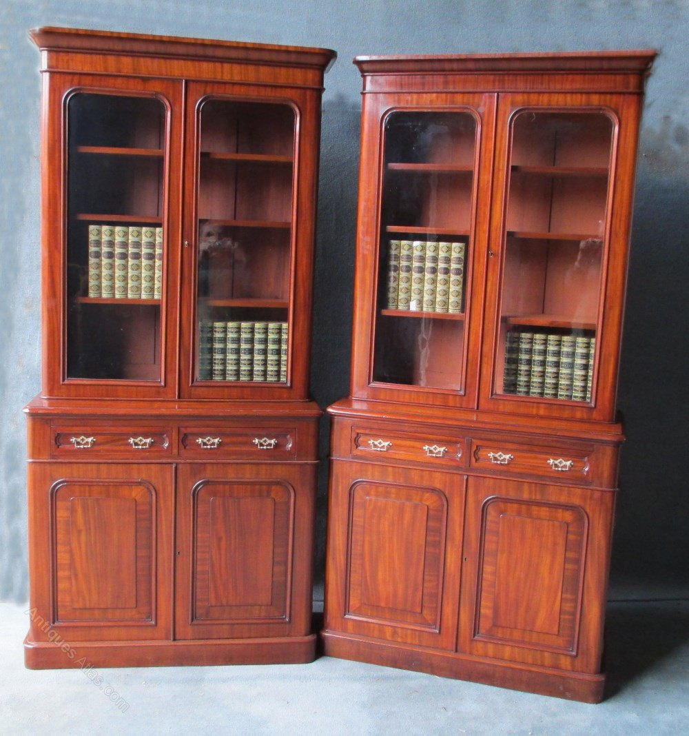 A Pair Of Victorian Mahogany Bookcase On Chests Antiques Atlas